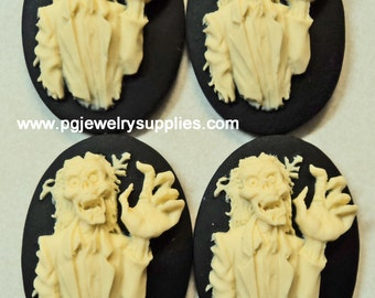 25mm x 18mm loose unset zombie skeleton hand resin cameos 4 pieces lot l
