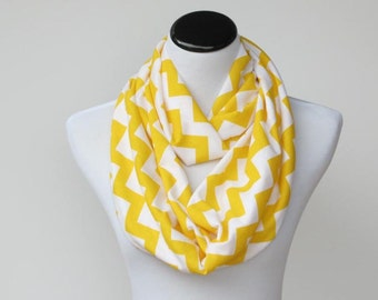 Yellow chevron infinity scarf zig zag bright yellow white stripes scarf - circle scarf loop scarf gift idea for her gift for mom