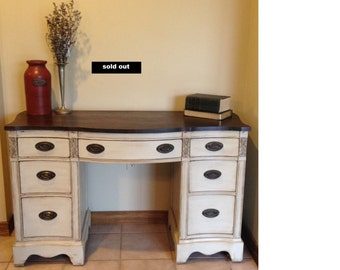 Sold!!!Antique solid wood desk/vanity refinished/vintage vanity/cottage chic desk