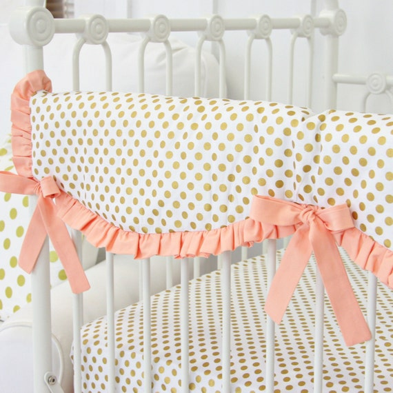 Marion S Coral And Gold Polka Dot Nursery: Coral And Gold Dot Ruffle Designer Crib Rail Guard Peach
