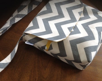 Messenger  Crossbody or shoulder- Gray chevron purse- adjustable  strap- with yellow dot