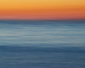 Orange Sunset Sky over Blue Waters, Impressionism, Dreamy, Panning, Pano