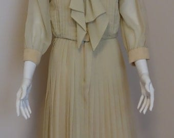 1960's Light Gold Sheer Pleated Dress / Parues Feinstein / Tie Front Dress