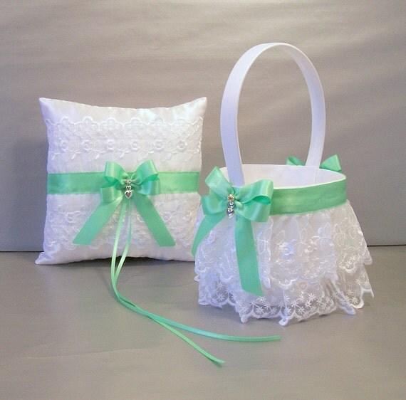 mint green wedding bridal flower girl basket and ring bearer. Black Bedroom Furniture Sets. Home Design Ideas