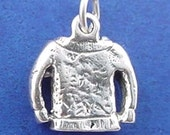 KNITTED SWEATER Charm, Irish Sweater .925 Sterling Silver Charm