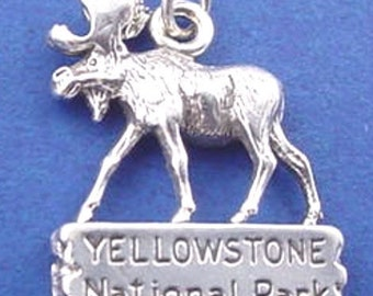 YELLOWSTONE National Park Moose Charm .925 Sterling Silver