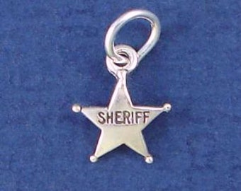 SHERIFF BADGE Charm, Police Officer, Star MINIATURE Small .925 Sterling Silver Charm