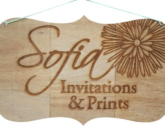 Custom Wood Engraved Sign for Business or Wedding, Shaped