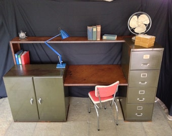 vintage industrial office desk, reception desk, vintage furniture