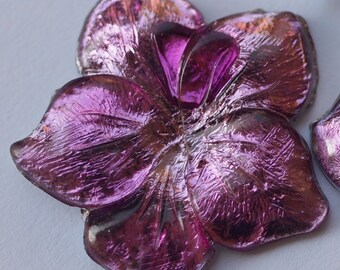 10 pcs  Vintage Purple Flower Beads ,Lucite Beads , bk082