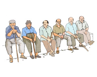 THE GANG  Inspired by life in a Southern  Spanish village  a line of older gents sit companionably together watching the world go by.