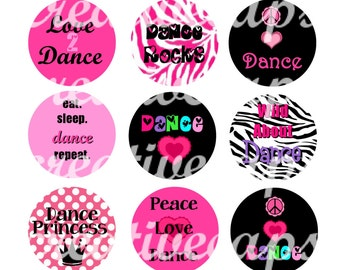 INSTANT DOWNLOAD Dance Bottle Cap Images 4X6 collage sheet