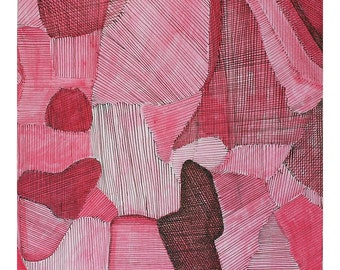 Pink Original Pen and Ink Drawing- Abstract Square Watercolor and Pen Art- 8x8- Small Format