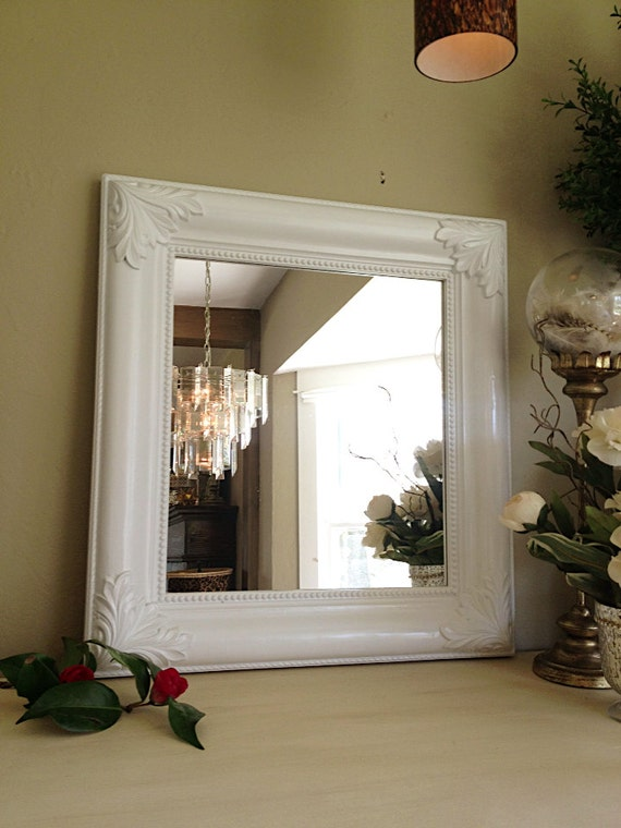 New LARGE WALL MIRROR, Ornate Nursery Mirror, Shabby Chic Mirror, Turquoise Blue Baroque Mirror Chalk Paint