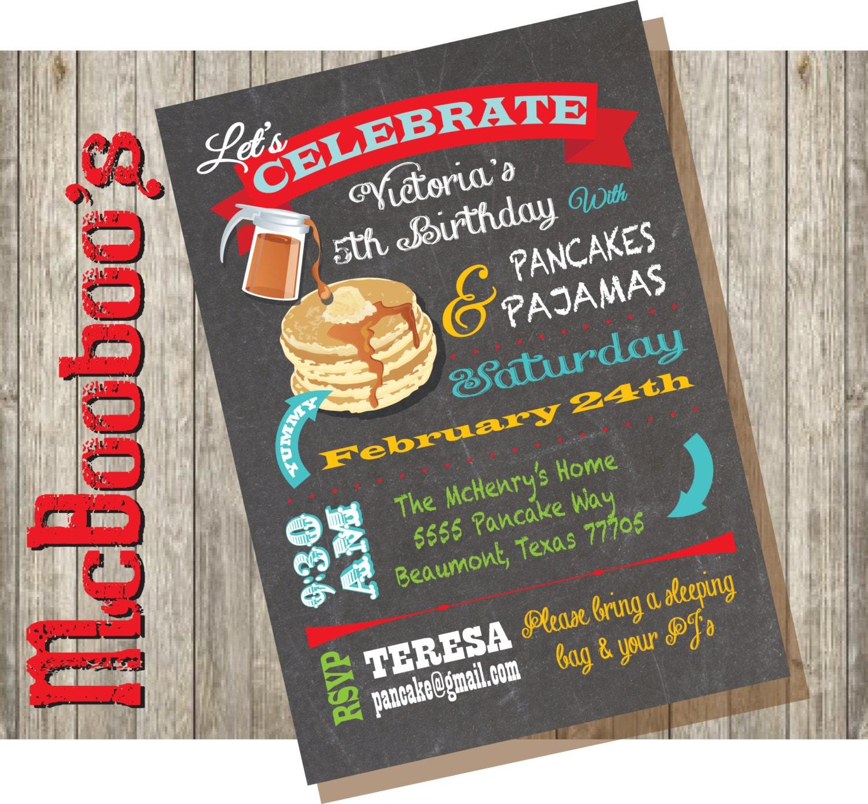 Snap pancakes and pajamas party invitation chalkboard style with chalkboard pancakes and pajamas birthday party by mcbooboos filmwisefo