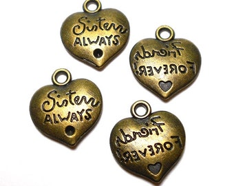 4 Sisters Always Charms, Bronze Sisters Heart Charms, Friends Forever Charms, Sister Charms, Sister Pendants,Best Friends Charms BC0037