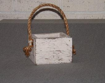 Wood planter box. Painted centerpiece. Wedding box/Succulent planter