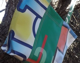 SALE Graphic Banner Bag Recycled Upcycled Repurposed Gift for her