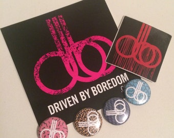 Driven By Boredom Stickers & Button