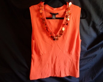 1980's blouse top sweater sleeveless orange sequins