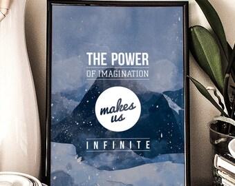 John Muir quote, Printable Poster, power of imagination, infinity, inspirational, wall decor, illustration