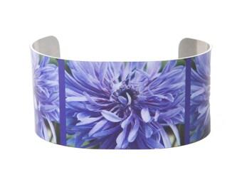 Photo cuff bracelet, aluminum, Lavender Lovey, fine art for wrist, HueDew