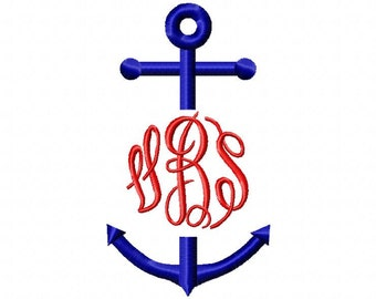 Split Skinny Monogram Anchor Embroidery Design Download 4x4 and 5x7 sizes