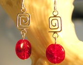 Earrings in Red Czech Crackle Glass and Sterling Silver     PTJ064