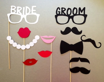 Bride and Groom Wedding Photobooth Props Holiday Photo Booth Props Set of 12