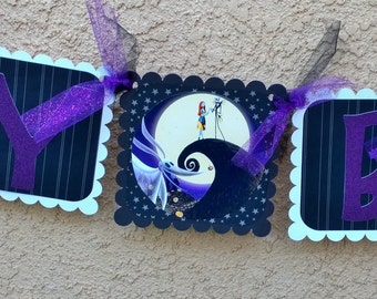 Nightmare before christmas Birthday Banner, Jack Skellington birthday banner