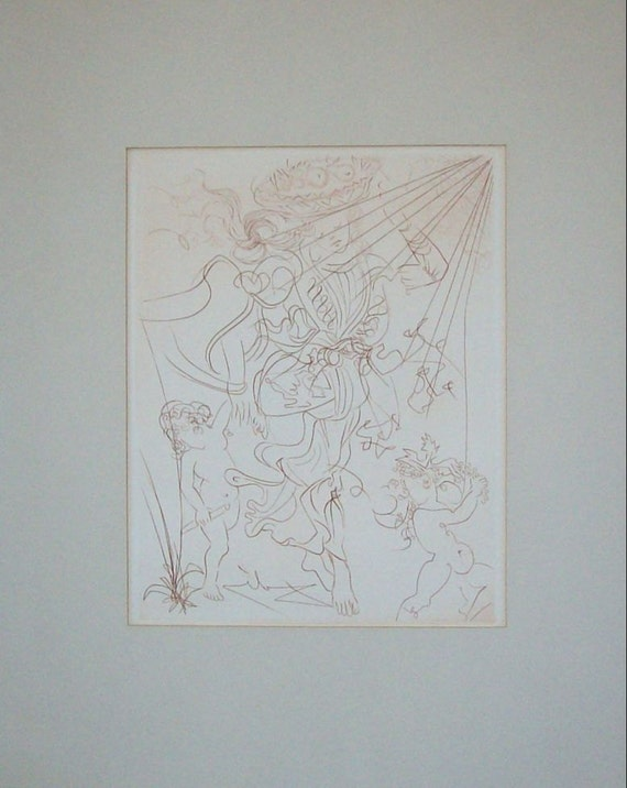 Salvador Dali Autumn Genuine Etching Listed Signed In