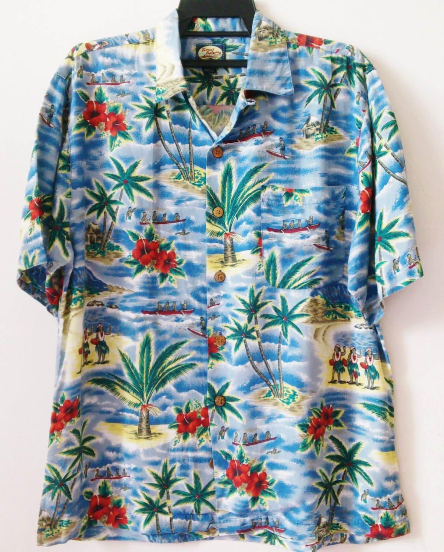 Tommy bahama hawaiian shirt s 100 rayon aloha for Custom tommy bahama shirts