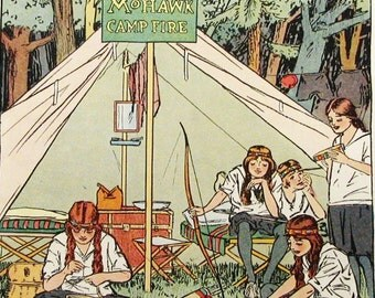 Vintage Campfire Girls Children's Vintage Print 1916 12x9 Play Room Ready to Matte Frame Kids or Girls Room Wall Art