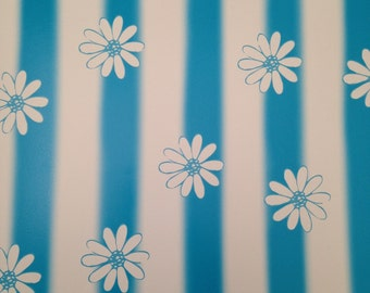 12x12 Turquoise Striped Daisy Paper