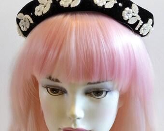 Vintage Black Velvet Beret Look Pearls