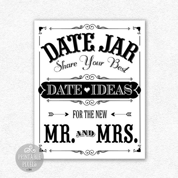 Date Jar Idea Sign And Cards Instant Download Printable: Date Jar Printable Wedding Sign 2B Includes By PrintablePixels
