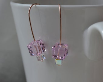 Modern Rose Swarovski Crystal Cube Earrings Handmade