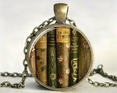 Library Book Necklace, Book Pendant,Book Jewelry,Gift for Teacher,Teacher Jewelry, Gift for Writer,Librarian,Book Lover