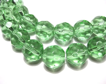 10pcs Round Clear Green Faceted Glass Beads 14mm