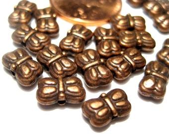 50pcs Antique Copper Butterfly Spacer Beads 5x9mm