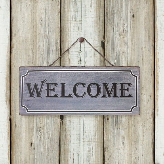 Wooden Gate Wall Decor : Welcome vantage wooden signboard wall decor door