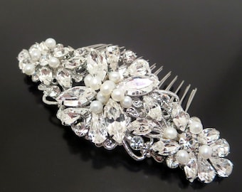 Bridal hair comb, Wedding headpiece, Freshwater pearl hair comb, Wedding hair accessories, Vintage style hair comb, Crystal hair comb