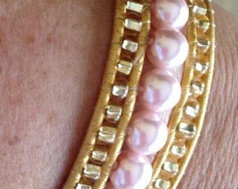 Online Jewelry Handmade designer beaded cuff wrap bracelet baby pink pearls & gold accents bohemian leather wrap bracelet bronze clasp