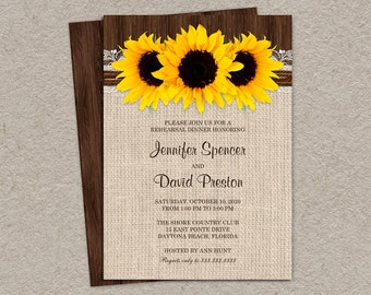 Rustic Sunflower Rehearsal Dinner Invitations, Burlap Rehearsal Dinner Invitation Cards With Sunflowers, Rustic Wedding Invitation Cards