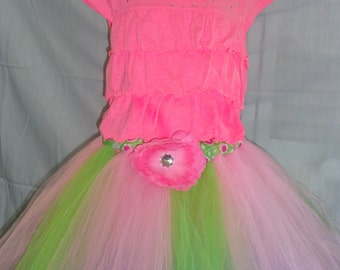 Beautiful Pink and Green Tutu and Shirt   Ready to Ship