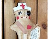 Folk Art Whimsical Whimsey Uglee Nurse Dammit Damn It Stress Anger Swear Art DoLL keb14 #52