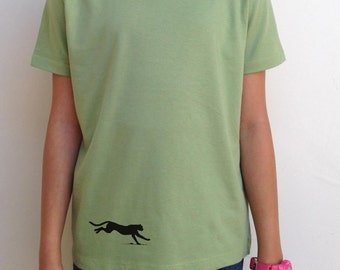 Youth Child Silkscreened Organic Cotton Fine Jersey- Short Sleeve Crew Tee Panther LARKSHAPES Tee