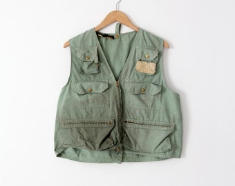 vintage fishing vest,  60s men's outdoor vest