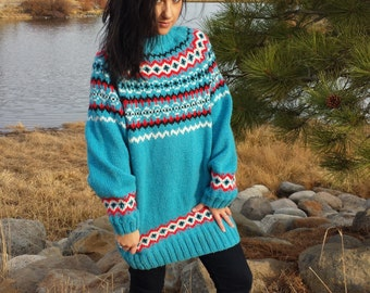 Vintage Cozy Hand Knit Jumper