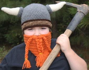 Dwarf Helmet with Beard, Viking Helmet, Viking Hat, Dwarf Hat, Dwarf hat with horns, Viking hat with horns, Crochet Hat (MADE TO ORDER)